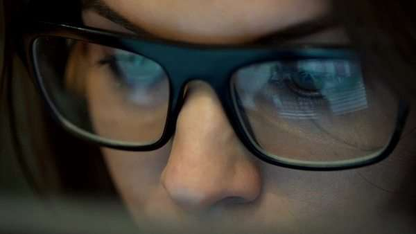 Close up of woman in glasses watching movie on tablet computer Royalty-free stock video