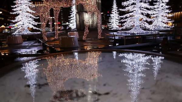 Wide shot of christmas decoration on a square in Stockholm Royalty-free stock video