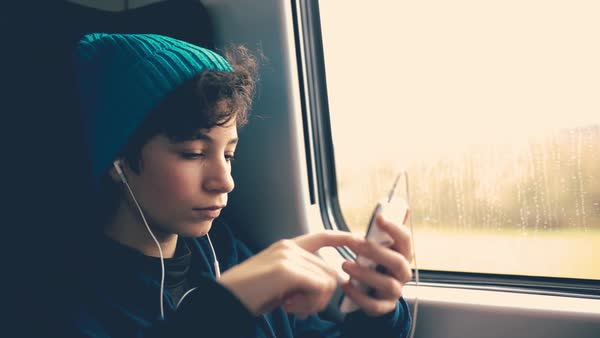 Girl on Train using smartphone Royalty-free stock video
