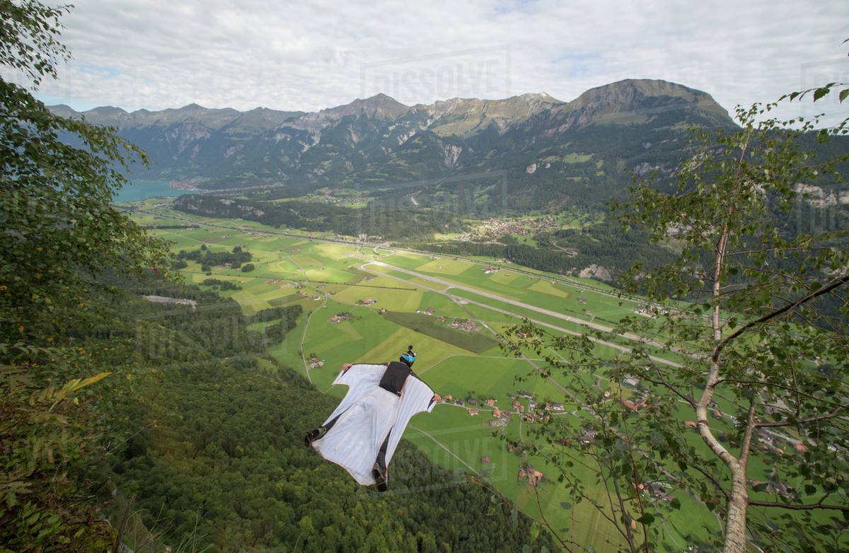 Wingsuit flyer gliding in the air Royalty-free stock photo