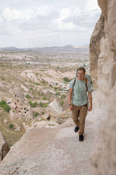 Man hiking in Cappadocia, Turkey Royalty-free stock photo