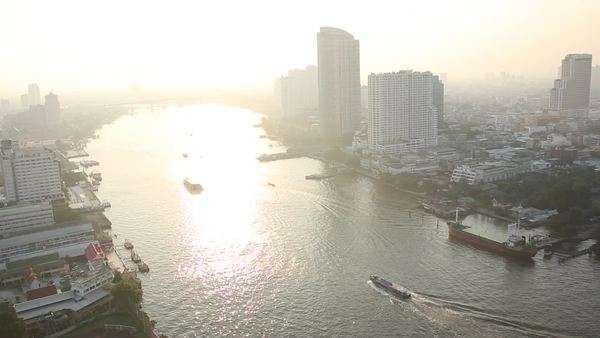 Elevated view of Chao Phraya river and Bangkok Royalty-free stock video