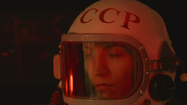 A retro soviet cosmonaut is getting sick Royalty-free stock video