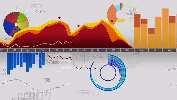 Loopable graphs and diagrams in 4K Royalty-free stock video