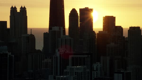 Aerial sunrise silhouette view of Chicago city skyline USA Royalty-free stock video