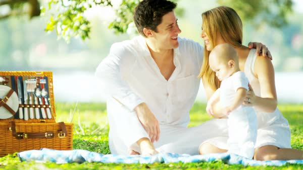 Loving happy Caucasian parents and their baby son relaxing outdoors on the blanket in the park Royalty-free stock video
