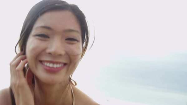 Portrait Asian Chinese Tourism Girl in Bikini Paradise Beach Close Up Royalty-free stock video