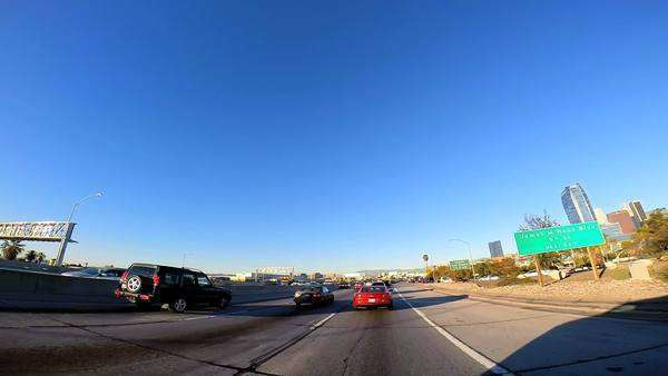 Los Angeles - January 2014: POV suburbs road driving city traffic Los Angeles California USA Royalty-free stock video
