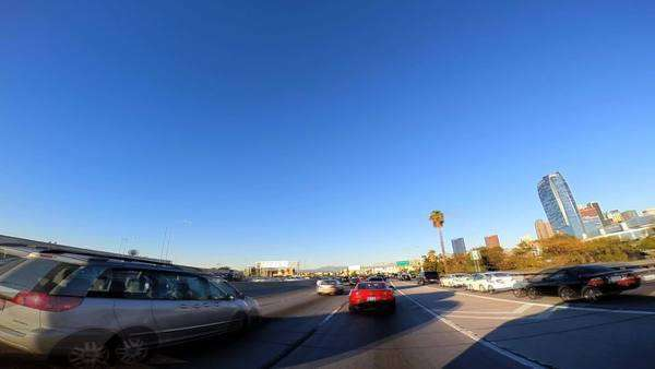 Los Angeles - January 2014: POV Timelapse road driving city traffic Los Angeles California USA Royalty-free stock video