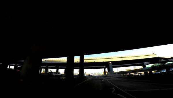 Los Angeles - January 2014: POV road driving inner city flyovers traffic Los Angeles USA Royalty-free stock video