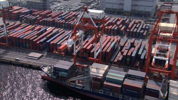 Aerial Port of Tokyo container terminal seaport Pacific Ocean Japan Royalty-free stock video