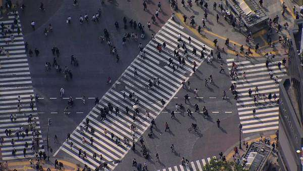 Aerial people Shibuya scramble crossing intersection Tokyo Royalty-free stock video