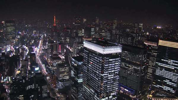 Aerial Metropolis illuminated skyscrapers Tokyo Tower Business District Japan Royalty-free stock video