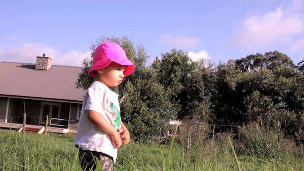 Young boy with pink hat walking through a pasture. Royalty-free stock video