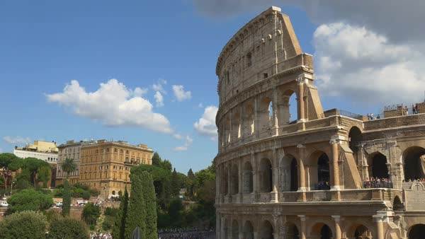 Summer Day Most Popular Rome City Coliseum Walking Panorama Royalty-free stock video