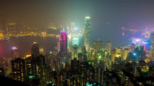 Famous Hong Kong City View Point The Peak Night Panorama Timelapse Royalty-free stock video
