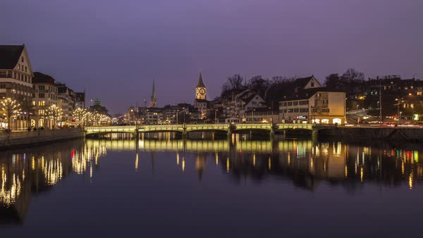 Night Twilight Zurich River Central Bridge View Timelapse Switzerland Royalty-free stock video