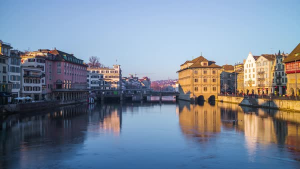 Zurich Center Limmat River Sunset Bridge View Timelapse Switzerland Royalty-free stock video