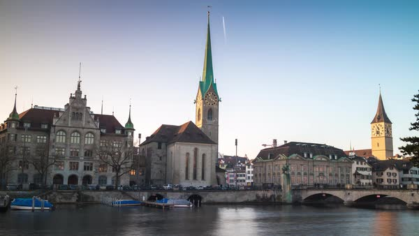 Zurich Lady Minster Cathedral Towers Riverside Timelapse Switzerland Royalty-free stock video