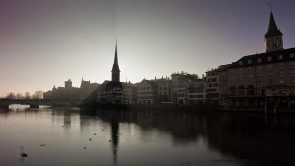 Sunset Zurich Fraumunster Church Limmatquai View Timelapse Switzerland Royalty-free stock video