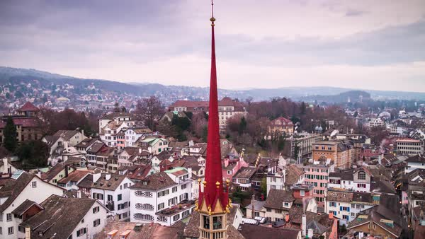Cloudy Day Grossmunster View Point Zurichscape  Timelapse Switzerland Royalty-free stock video
