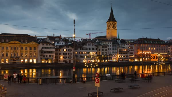 Zurich Saint Peter Church Limmatquai Riverside View Timelapse Switzerland Royalty-free stock video