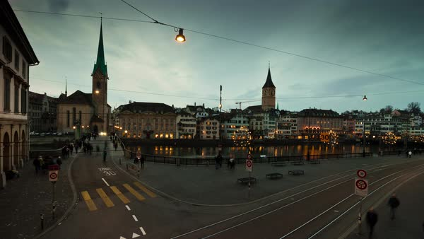 Zurich Fraumunster Limmatquai Munsterbrucke Timelapse Switzerland Royalty-free stock video