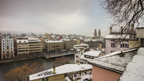 Zurich View Point Limmatquai Riverside Grossmunster Timelapse Switzerland Royalty-free stock video