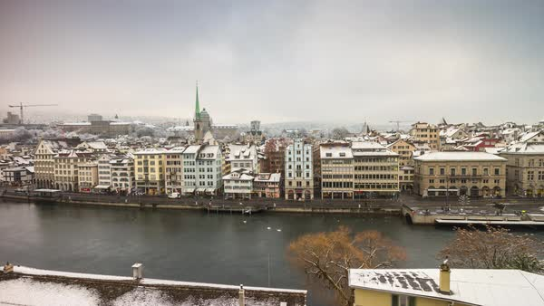 Zurich Day View Point Limmatquai Limmat Riverscape Timelapse Switzerland Royalty-free stock video