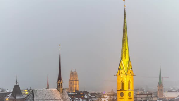 Zurich Predigerkirche Tower Cityscape View Point Timelapse Switzerland Royalty-free stock video