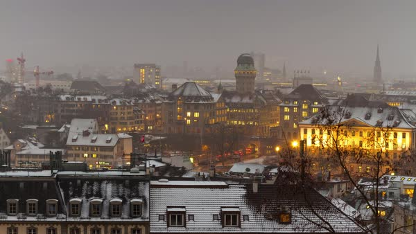 Zurich University View Points Cityscape Rooftops Timelapse Switzerland Royalty-free stock video