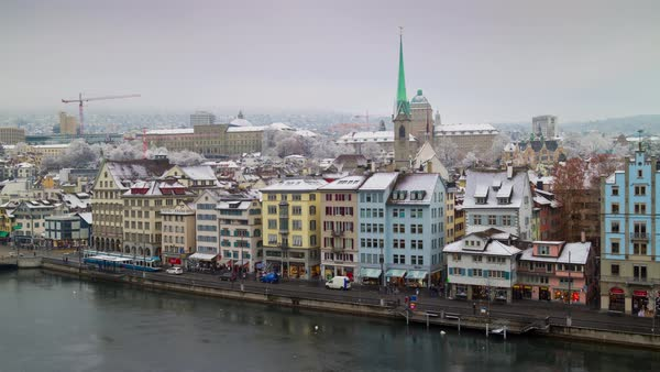 Zurich View Point Limmatquai Tram Traffic River Timelapse Switzerland Royalty-free stock video