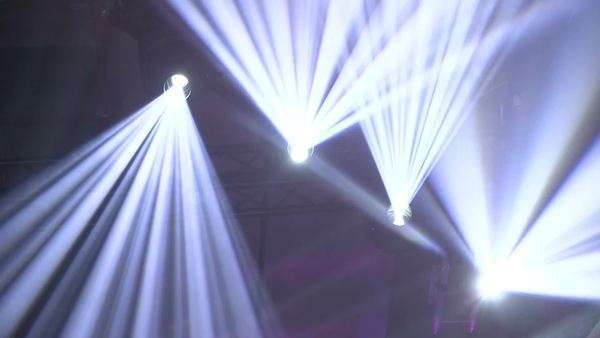 Flashing lights on stage during the sound and lights show in Frankfurt Royalty-free stock video