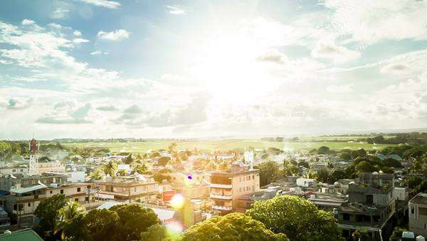Looking down on the cityscape of Mauritius, Mahebourg Royalty-free stock video