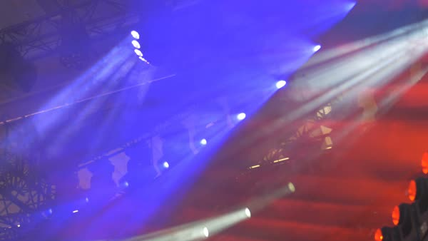 Spotlights on stage rafters sway side to side.  Royalty-free stock video
