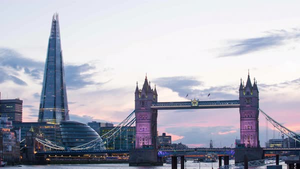 London Tower Bridge and The Shard Royalty-free stock video