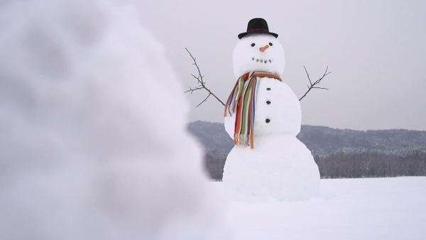 Dolly shot of Snowman in the middle of field Royalty-free stock video