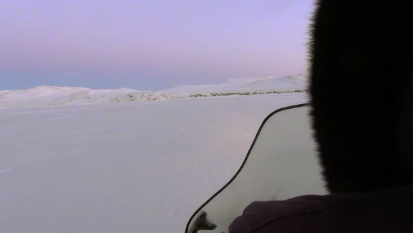 Hand-held shot of traveling on a sled on snow Rights-managed stock video