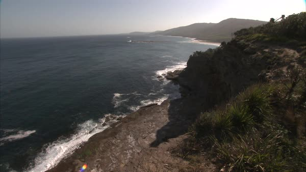Wide shot of a coastline Rights-managed stock video