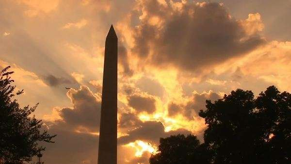 Sunset on the Washington Monument, timelapse Royalty-free stock video
