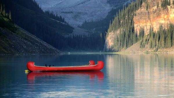Two Canoes, Banff National Park, Canada, Lake Louise Royalty-free stock video