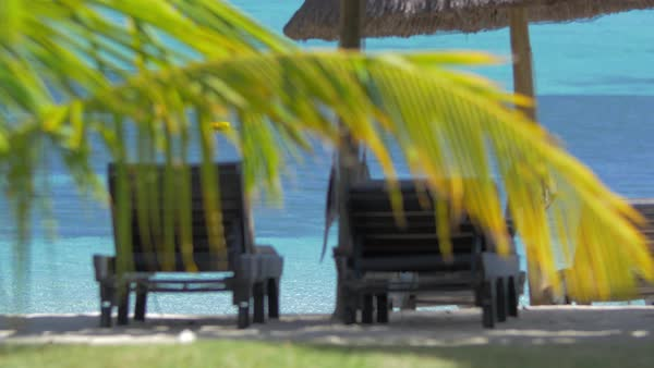 Chaise longues and sun umbrella on the coast with clear blue water Royalty-free stock video