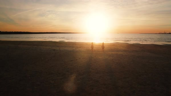 Two girls are riding horses on a beach. Horses run towards the sea. Beautiful sunset is seen in this aerial shot. Royalty-free stock video