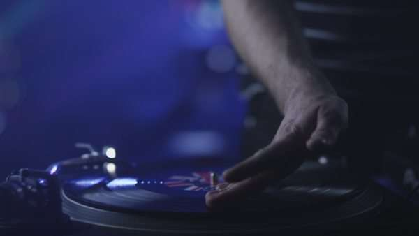 Dj mixing vinyl records at party Royalty-free stock video