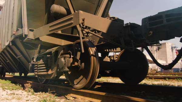 Shot of moving freight train wheels Royalty-free stock video