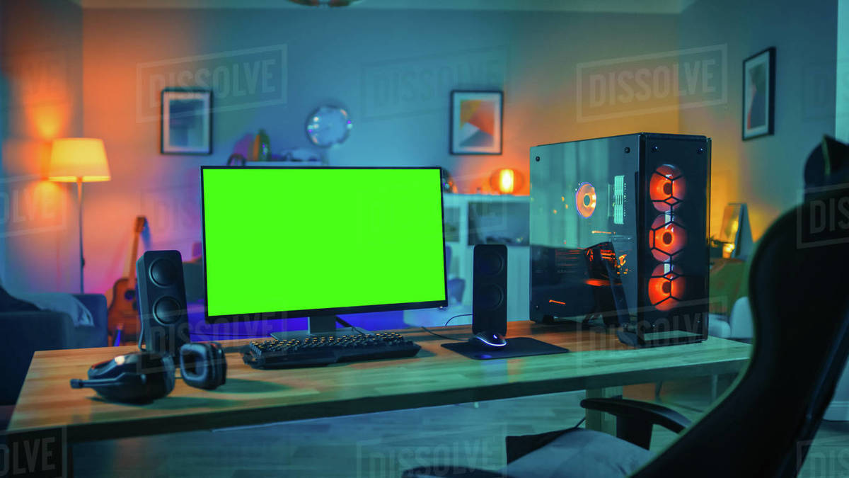 Powerful personal computer gamer rig with mock up green screen D538_291_076