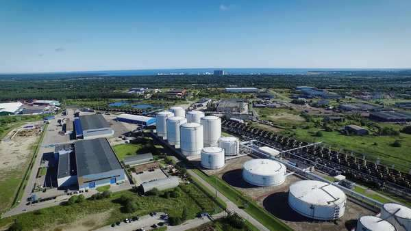 Aerial shot of industrial area Royalty-free stock video