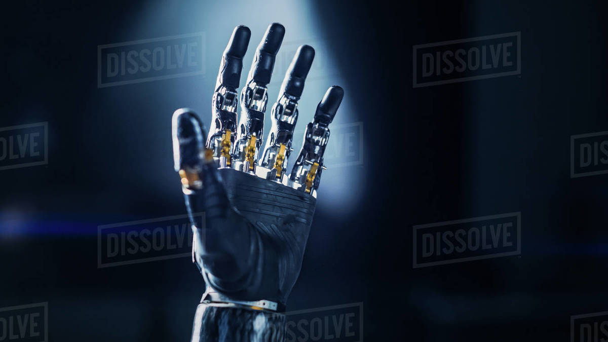 Modern Humanoid Robot Arm Working Hand. Delicate Mechanistic wonder, High-Tech Prosthesis to Help People with Disability who Lost their Hand in an Accident Royalty-free stock photo