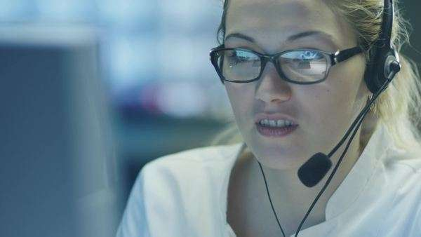 Woman operator in customer support service center Royalty-free stock video