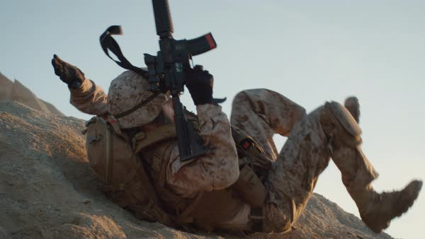 Soldier Rolling Down the Hill. Slow Motion. Royalty-free stock video